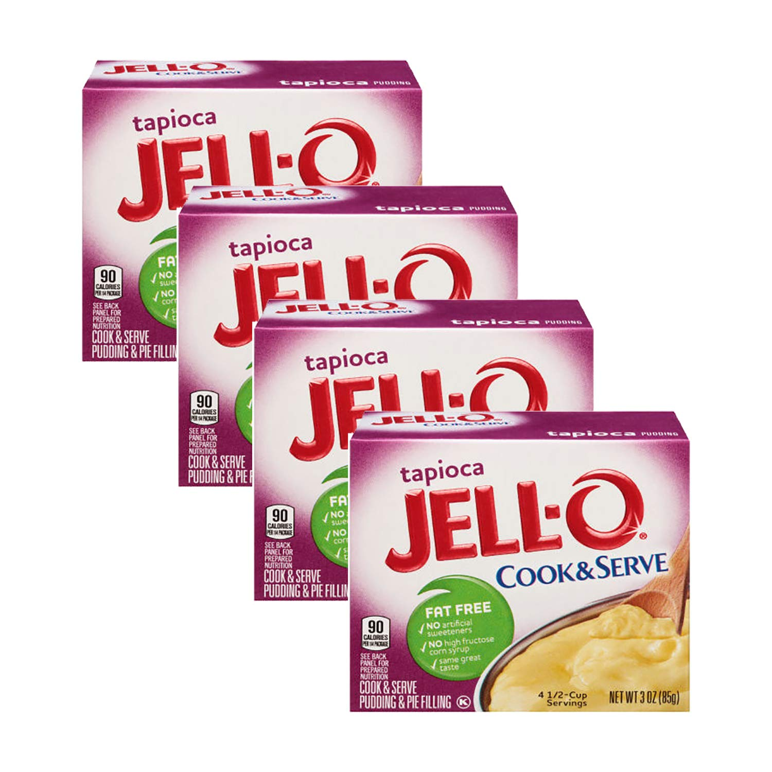 Jell-O, Cook & Serve, Tapioca Pudding & Pie Filling, 3oz Box (Pack of 4)