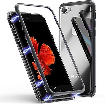 Coque pour iPhone 6/6s, Coque d'adsorption magnétique ZHIKE Cadre métallique Ultra Fin Verre trempé avec Couvercle à Aimant intégré pour Apple iPhone ...