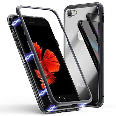 pretty nice 58efe b1145 ZHIKE iPhone X/XS Case, Magnetic Adsorption Case Metal Frame Tempered Glass  Back with Built-in Magnet Cover [Support Wireless Charging] for Apple ...