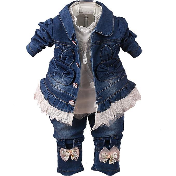 Amazon.com: YYA - Juego de ropa vaquera para bebé, 3 piezas ...