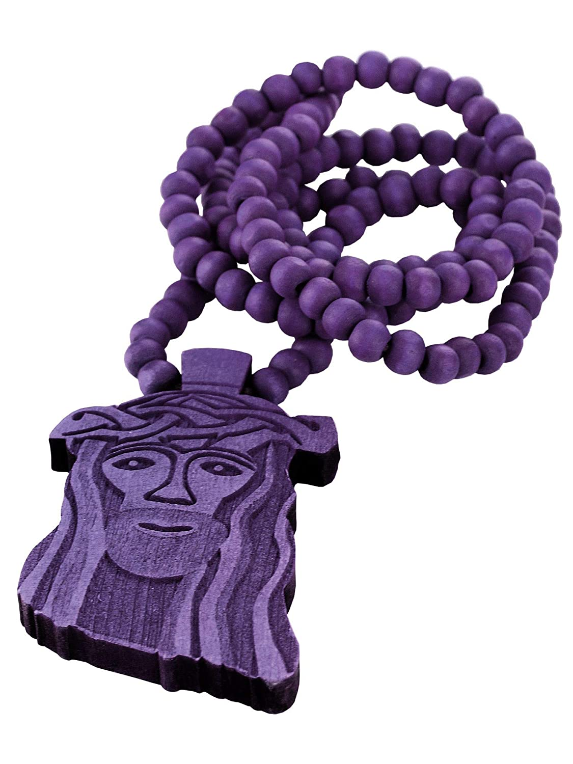 NYFASHION101 Smiling Jesus Face Pendant with 8mm 36 Wooden Bead Necklace