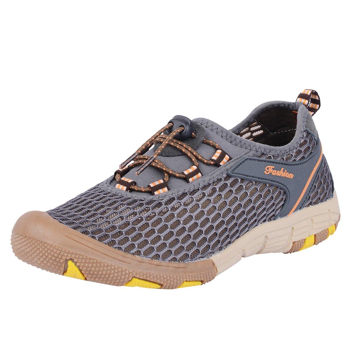 Neoyowo Mens Quick Drying Aqua Water Shoes for Hiking Beach Walking(Grey 47 EU