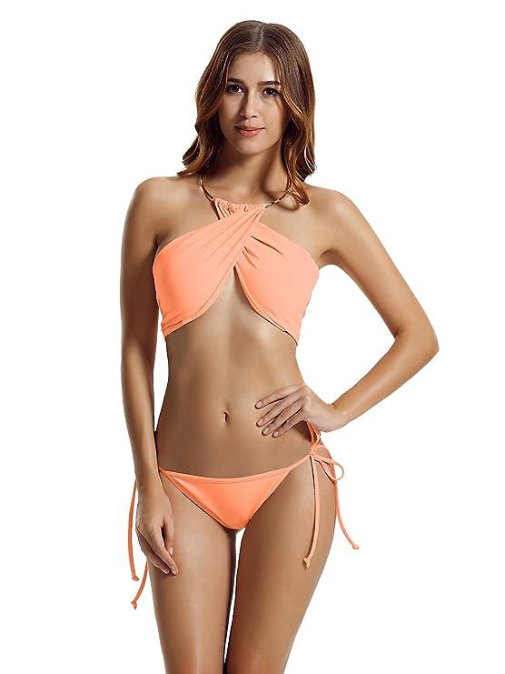 zeraca Women's High Neck Criss Cross Tie Side Bikini Swimsuits (S6, Dawn)