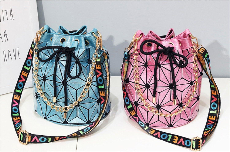 BeautyWJY Drawstring Bucket Shoulder Bag Geometry Lattice Handbag PU Leather Purses for Women