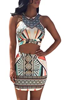 841b908c354 OUFour Verano Mujer Sin Mangas Crop Top y Lápiz Mini Falda de Partido  Fiesta Boho Impresión