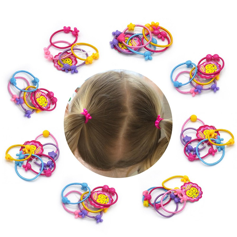 Baby Girls Hair Bow Elastic Ties 1 Inch Mini Bow Ponytail Holders Toddler Pony Holder Hair Elastics Value (40) lavisun