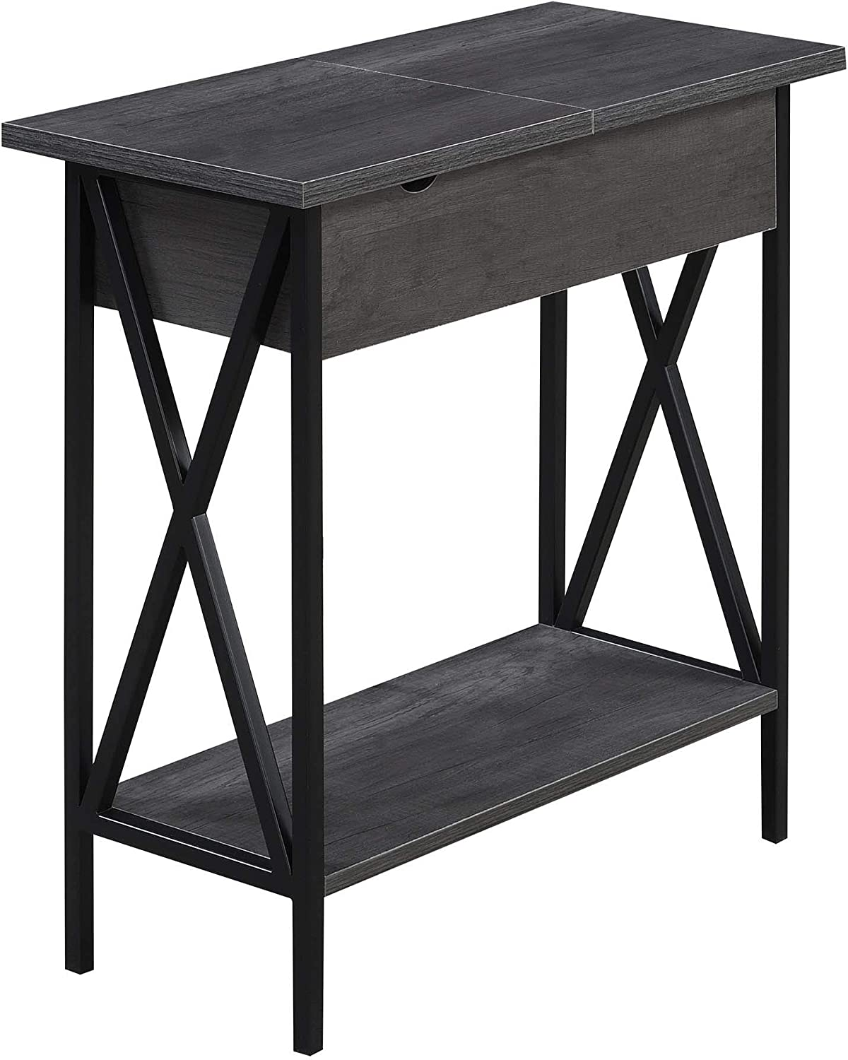 Convenience Concepts Tucson Flip Top End Table with Charging Station, Charcoal Gray/Black