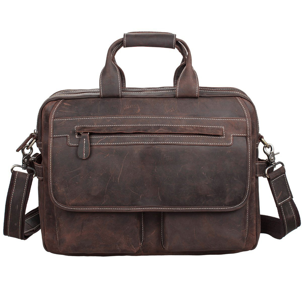S-ZONE Crazy Horse Leather Shoulder Briefcase for 16 Inch Laptop Bag by S-ZONE (Image #6)