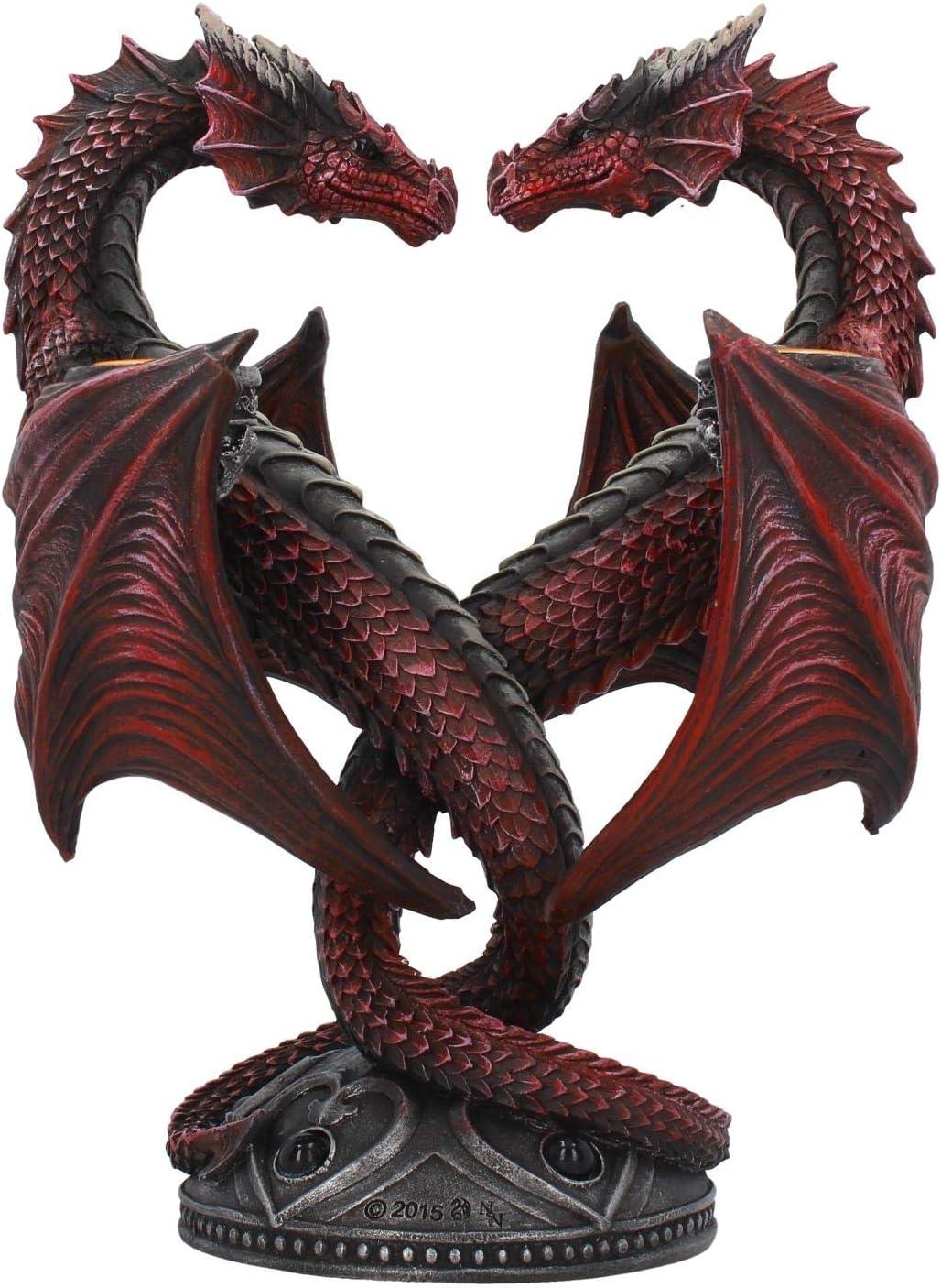 Nemesis Now Photophore en Forme de c/œur Dragon Anne Stokes /Édition Valentin Rouge 23 cm R/ésine Taille Unique