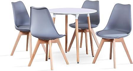 GroBKau Mesa de comedor con 4 sillas, moderna mesa redonda blanca para cocina, comedor, café, ocio, 5 piezas, 80 x 80 x 75 cm: Amazon.es: Hogar