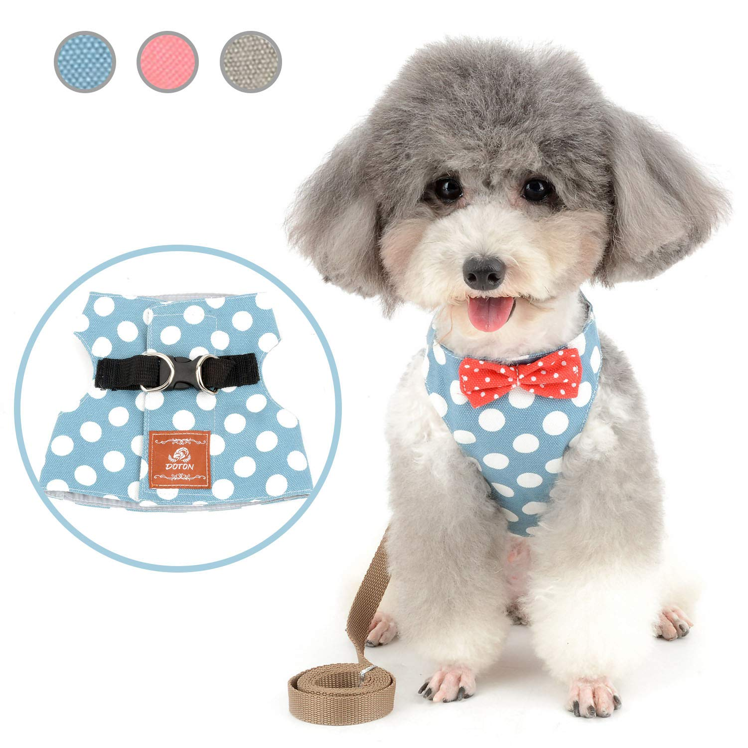 Zunea Small Toy Dog Harness and Leash Set No Pull Escape Proof Cat Kitten Vest Harness with Bowknot Step in Puppy Chihuahua Polka Dot Easy on Jacket for Walking Blue M by Zunea