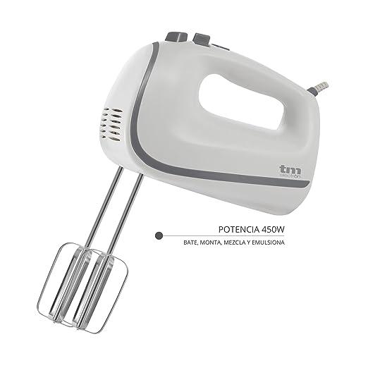 Tm Electron PBA-111 Batidora Amasadora para repostería con 5 velocidades, 2 varillas y 2 ganchos para amasar 450 W: Amazon.es: Hogar