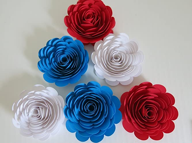 Amazon red white and blue paper flowers 3 roses set of 6 red white and blue paper flowers 3quot roses set of 6 american mightylinksfo