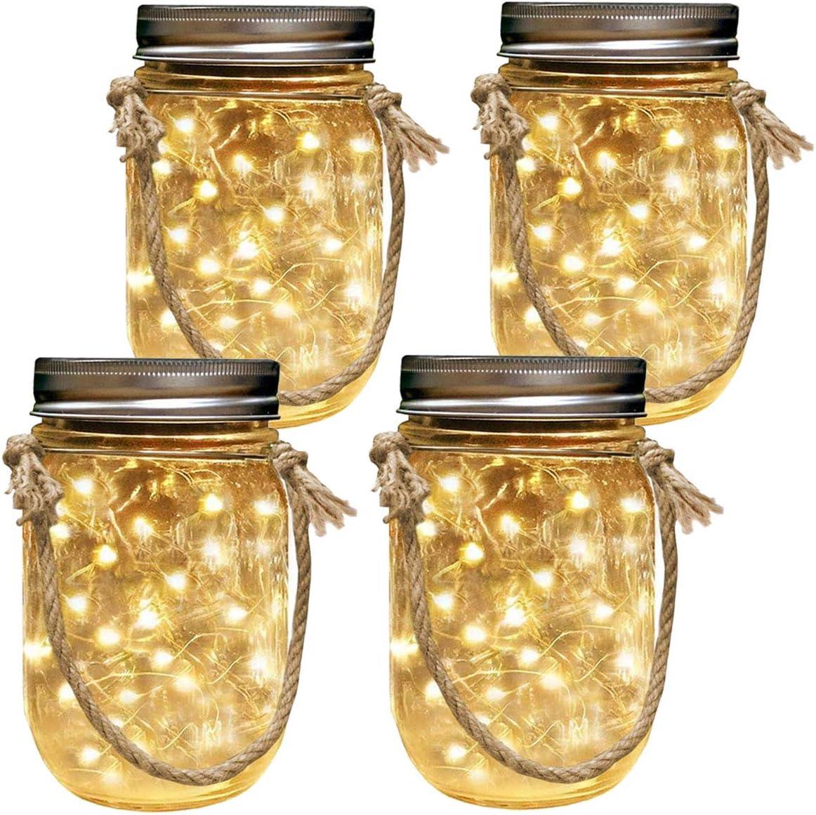 Homeleo 4-Pack Solar-Powered Mason Jar Lights Kits Lid Lights,Mason Jars,Hangers Included ,LED Star Fairy Firefly Vintage Jar Lights Set for Christmas Decoration Outdoor Garden Yard Patio Path Decor