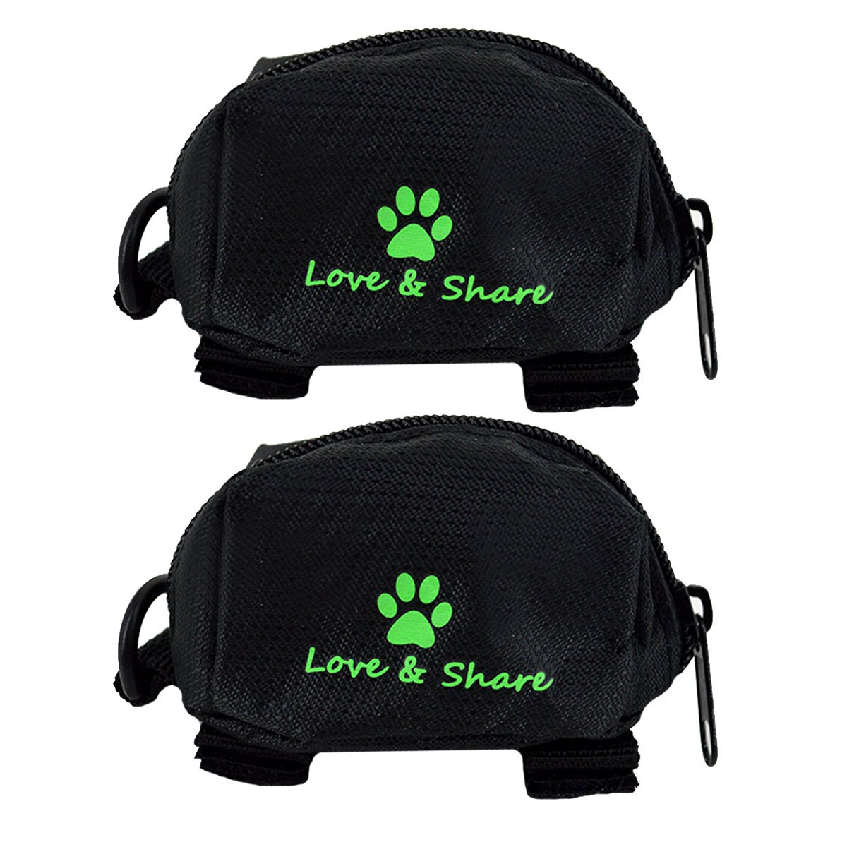 Black Budd Pets Dog Poop Bag Holder, 2 Pieces Oxford Fabric Waste Bag Dispenser Pick-up Bag Zippered Pouch (Black)
