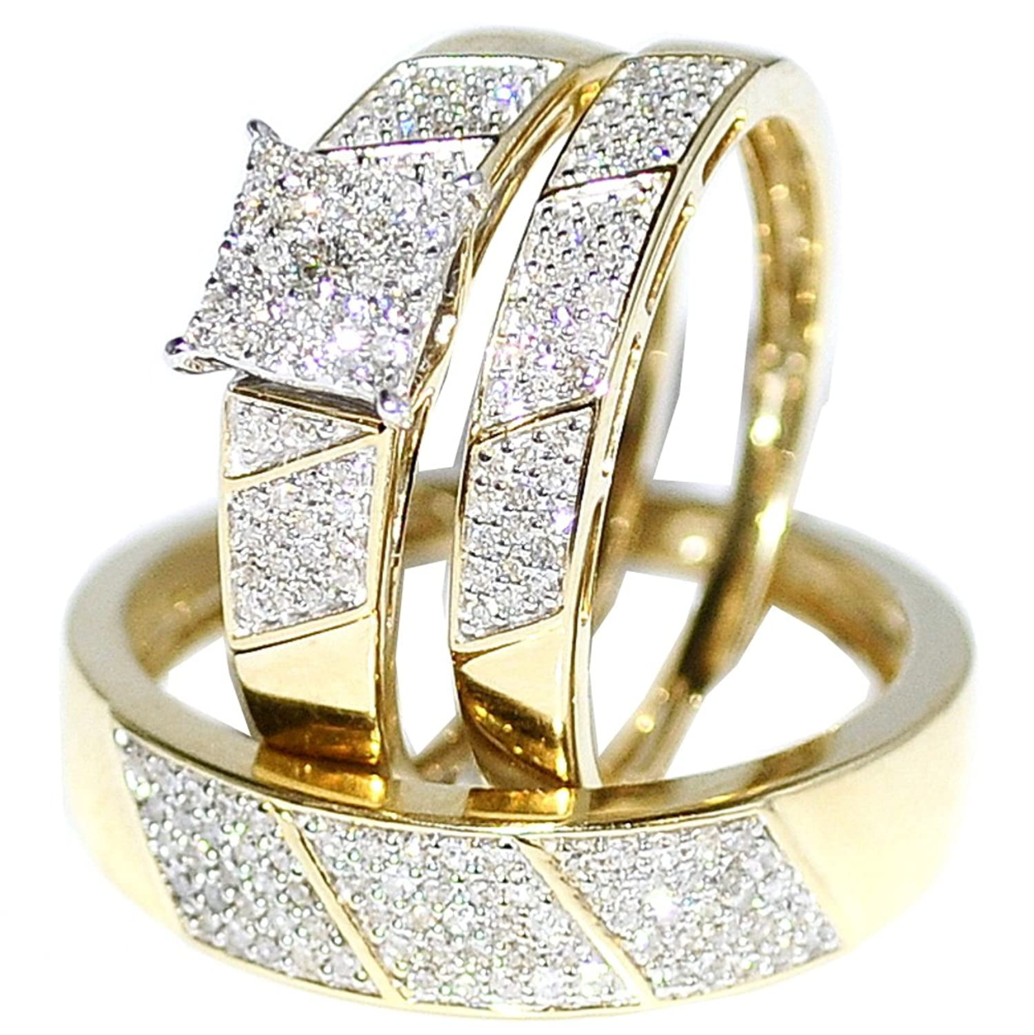yellow carat gold bands set diamond trio band wedding ring sets