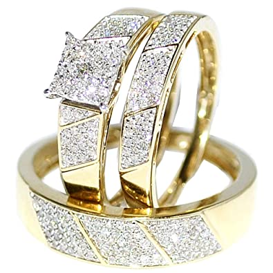his her wedding rings set trio men women 10k yellow gold - Wedding Ring Trio Sets