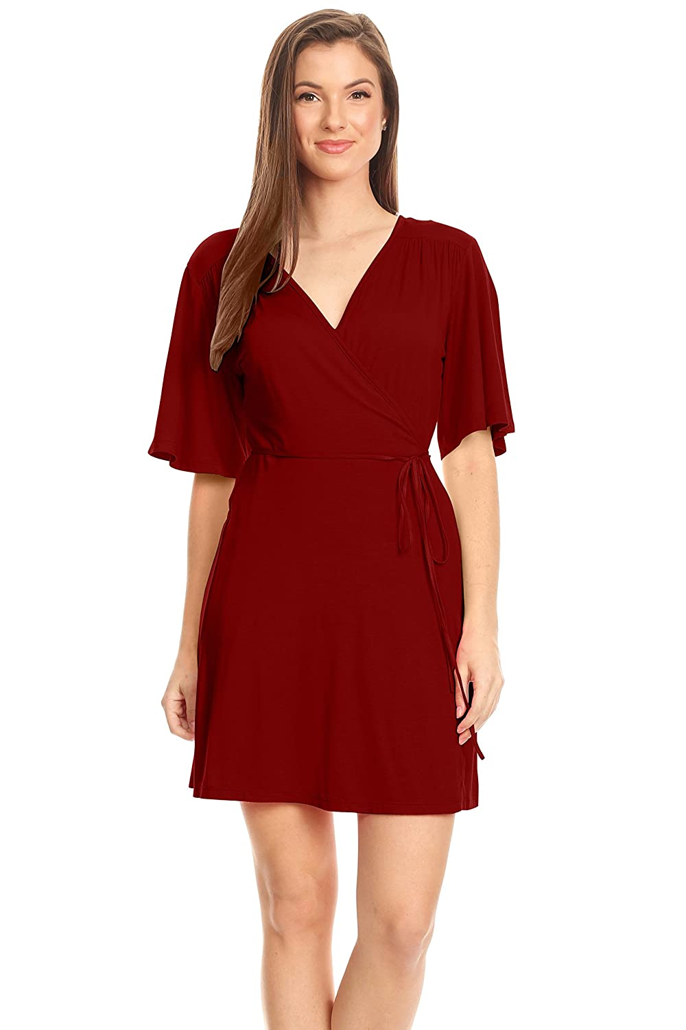 be1a17713cb Women s Wrap Dress Flared Sleeve Reg and Plus Size Wrap Dress with Tie Belt  - USA at Amazon Women s Clothing store