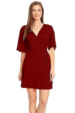 40f415d10b3d Womens Burgundy Wrap Dress Mini Short Flare Dress Burgundy Plus Size and  Regular Casual Summer T