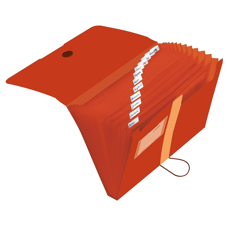 Herlitz 11411279 arancio Cartellina a 12 scomparti in pellicola di PP riciclata