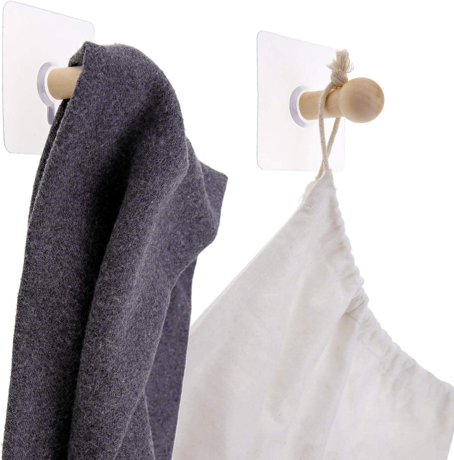 Cappotti Chiavi Cucina Bagno Porte Asciugamani Confezione da 10 Ganci Adesivi in Legno per Appendere Cappelli Armadio YINETTECH