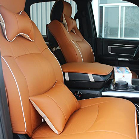 Awe Inspiring Fly5D Pu Leather Car Seat Covers Front Rear Seat Cushion Cover Full Sets For 2009 2017 Dodge Ram 1500 2500 3500 Brown Lamtechconsult Wood Chair Design Ideas Lamtechconsultcom