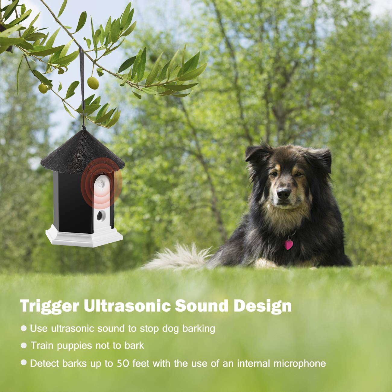 Anti Barking Device Ultrasonic Dog Bark Controller Whistle Pc Related Power Supplies And Control Waterproof Outdoor System In Birdhouse Shape Meterllc Pet