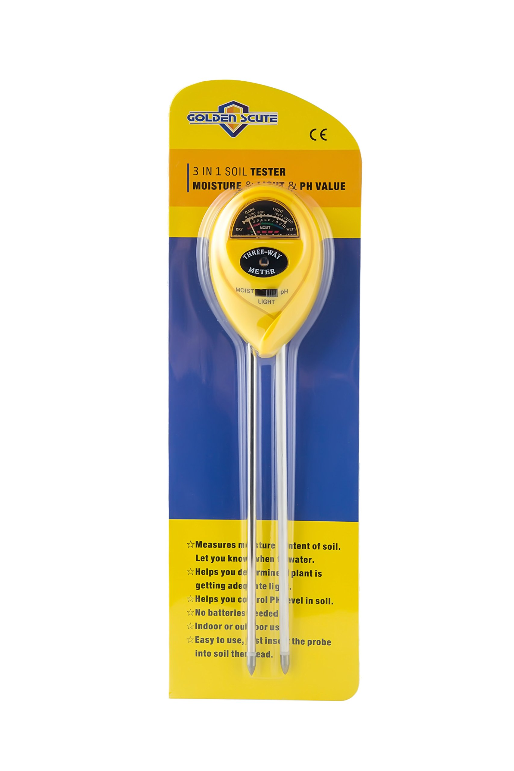 Golden Scute 3 in 1 Soil Tester for PH Meter, Moisture, Sunlight and Acidity, Garden Tools for Farm, Plants and Herbs, Indoor & Outdoor Plant Care (No Battery Needed)
