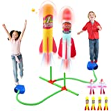 Litviz Dueling Rocket Launcher for Kids,Summer Outdoor Rocket Toys with 4 Foam and 2 LED Rockets,Soars Up to 100 Feet,Outdoor