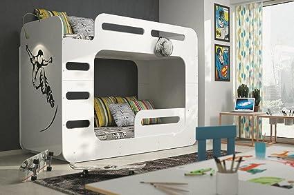 MAX cama 2 para niños y adolescentes 200 *colchón 90 cm, color blanco