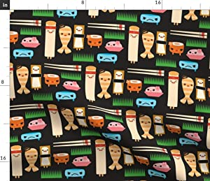 Spoonflower Fabric - Black Sushi Japan Japanese Food Egg Roll Faces Kawaii Printed on Petal Signature Cotton Fabric by The Yard - Sewing Quilting Apparel Crafts Decor