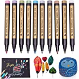 Metallic Markers Paint Pens-Medium Tip Paint Pens Metal Art Permanent Marker Set For Card Making, Painting Rocks, Scrapbooking, Black Paper, Glass,Wood, Ceramics,DIY Craft Kids,10 Colors