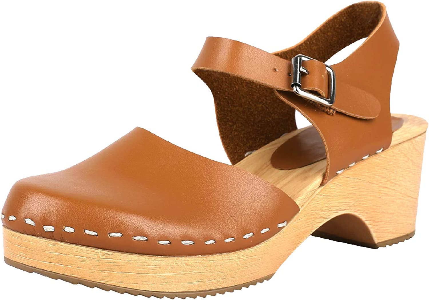 Ruanyu Womens Platform Clogs Sandals Closed Toe Wooden Heel Ankle Strap Buckle Slingback Sandals Brown