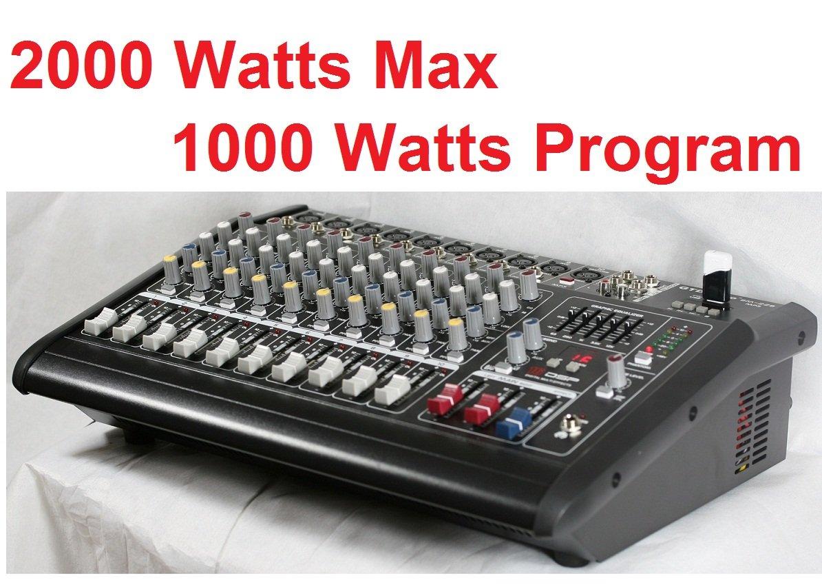 GTD Audio 10 Channal 1000Watt Professional Powered Mixer Amplifier (500w RMS / 2x250w RMS)