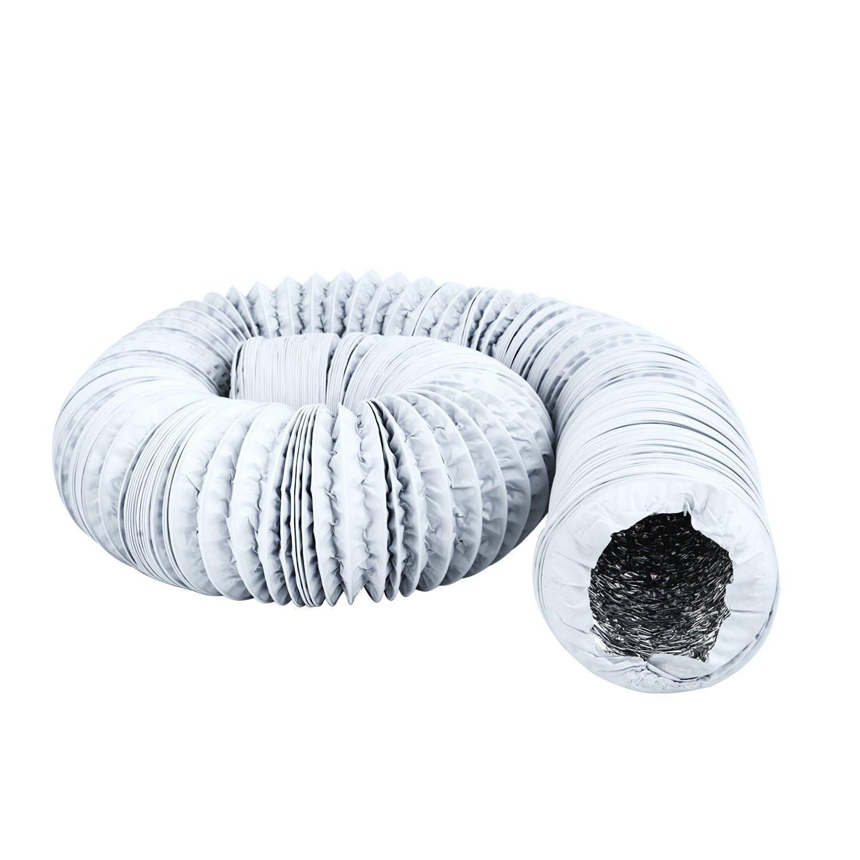 Hon&Guan Tubo de Manguera de Ventilación Tubo Aire Flexible di Aluminio & PVC para Extractor de Aire , Climatización , Secadora (ø100mm*5m, gris)
