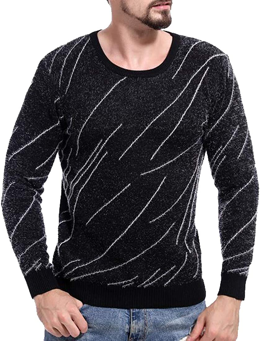 Heless Mens Knit Fluffy Round Neck Printed Pullover Sweater Jumper Top