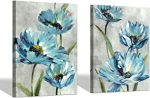 """SD SOFT DANCE Blue Flower Canvas Wall Art: Blooming Floral Artworks Blue and Gray Pictures for Living Room (18"""" x 24"""" x 2 Panels)"""