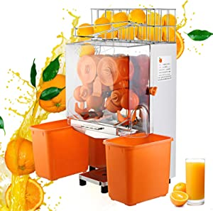 VBENLEM 110V Electric Orange Juicer Commercial Squeezer Machine Lemon Automatic Auto Feed Perfect for Drink Bar and Home Supermarkets 22-30 Per Minute Plastic Tank+PC Cover