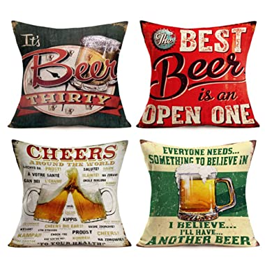 Throw Pillow Covers Beer Classical Quote Lettering Series Throw Pillows Cases 18 x 18 Inch Set of 4 Cotton Linen Vintage Rustic Icons Decorative Pillow Covers Cushion Case for Home Sofa (Beer Set)