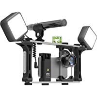DREAMGRIP Evolution MOJO Universal Transformer Rig for Smartphones Action Cameras DSLR Cameras. The Set for Journalists with Wired Gun Microphone and LED Lights. Smart Filming System