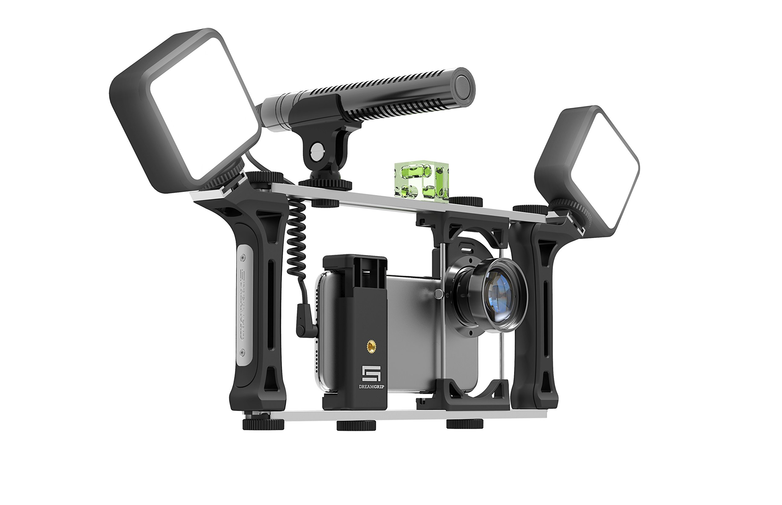 DREAMGRIP Evolution MOJO Universal Transformer Rig for Smartphones, Action Cameras, DSLR Cameras. The Set for Journalists with Wired Gun Microphone and LED Lights. Smart Filming System by DREAMGRIP