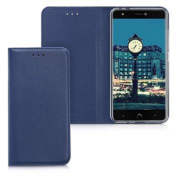 kwmobile Funda para bq Aquaris X/X Pro - Carcasa para móvil de [Cuero sintético] - Case [Plegable] en [Azul Oscuro]