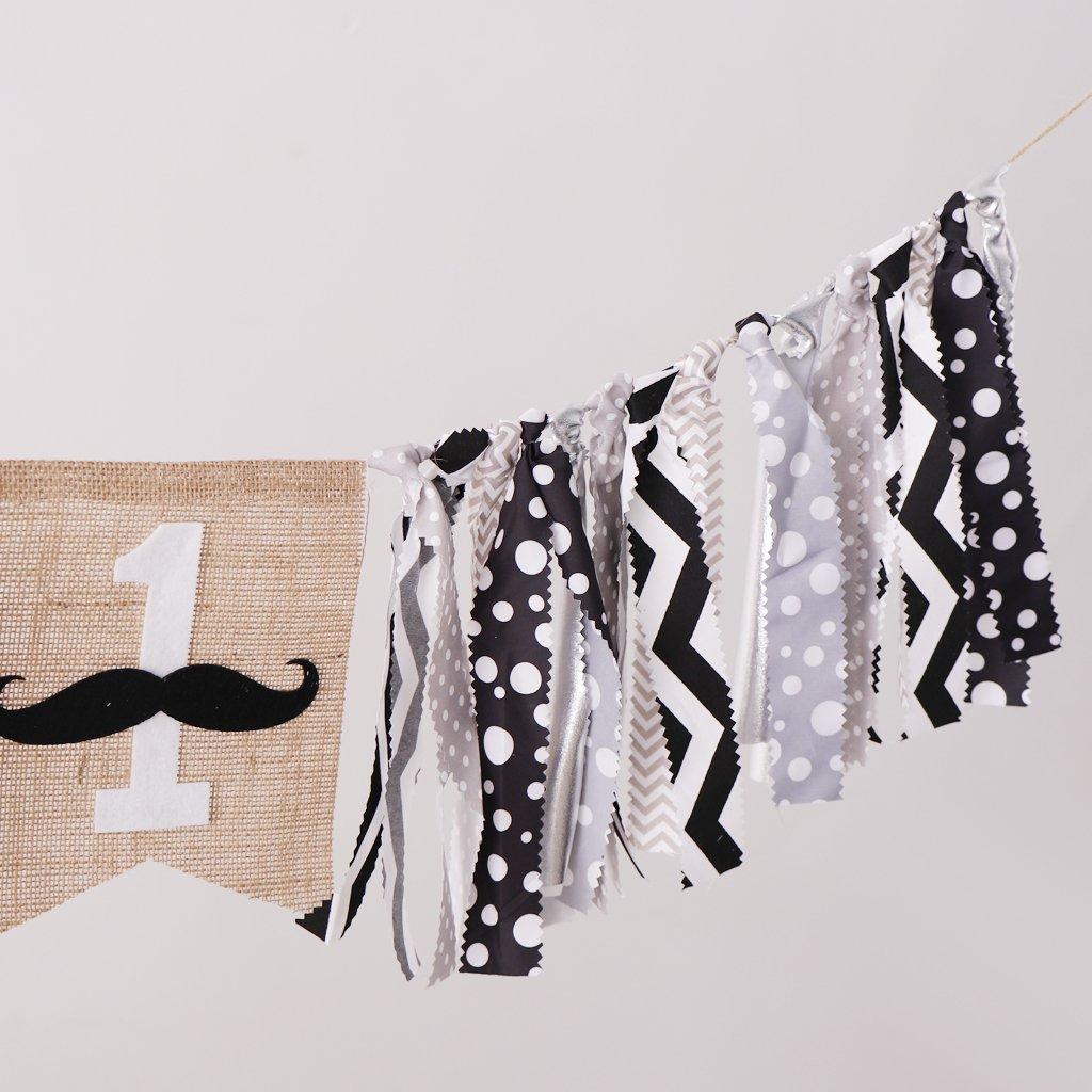 Fityle Newborn 1st Birthday Mustache Party Rag Tied HighChair Banner Hanging Decor