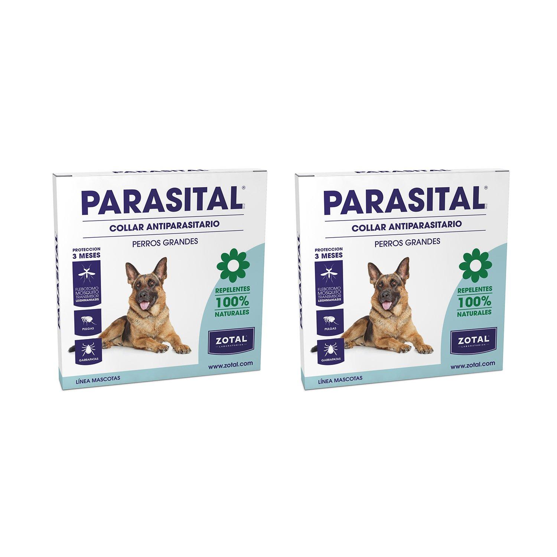 Parasital Collar Antiparasitario de 75 cm para Perros Grandes de Zotal, Pack de 2 - Repelente de Pulgas, Garrapatas y Mosquitos. Actúa contra el Phlebotomus ...