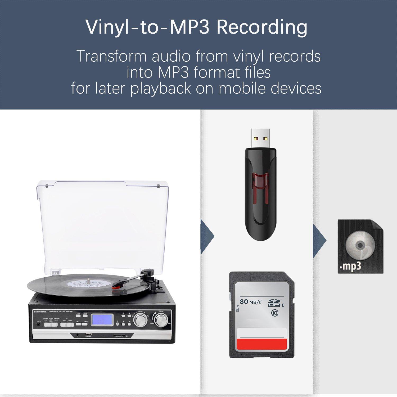 Tocadiscos 33/45/78 RPM Seleccionables, Maleta Portátil con 2 ...