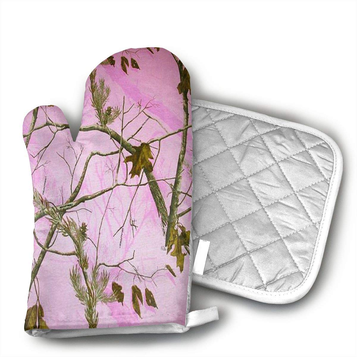 Pink Realtree Camo Oven Mitts and Pot Holders Set with Polyester Cotton Non-Slip Grip, Heat Resistant, Oven Gloves for BBQ Cooking Baking, Grilling