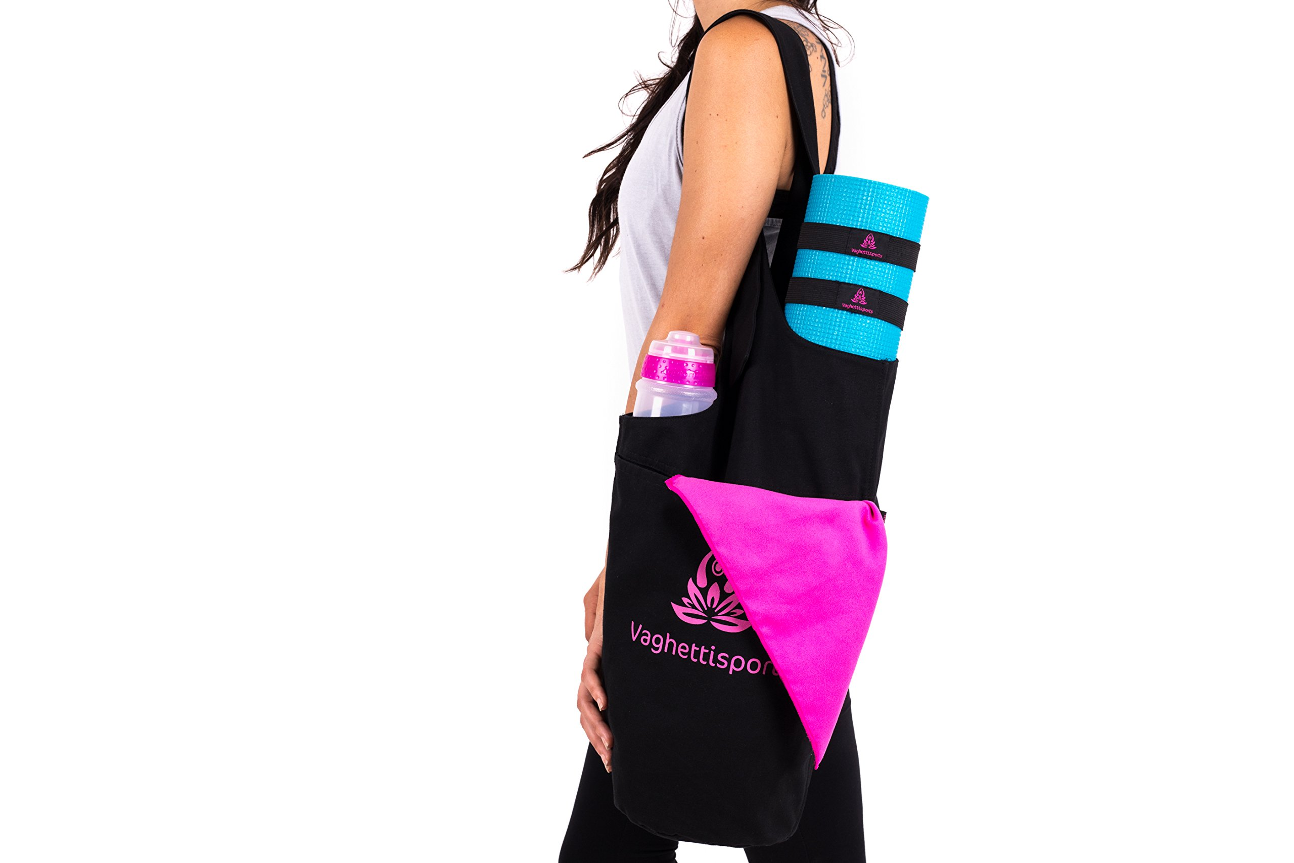 Vaghettisports Yoga Mat Bag Set with Yoga Towel & 2 Yoga Mat Straps/Premium Yoga Mat Bags with 2 Pockets and Adjustable Shoulder Strap/Cotton Yoga Mat Tote Sling Carrier-Fits Almost Yoga Mats Size