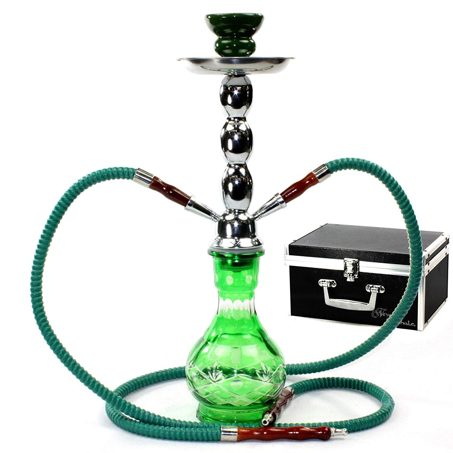 GSTAR Deluxe Series: 18'' 2 Hose Hookah Complete Set w/Travel Case - (Spring Green)