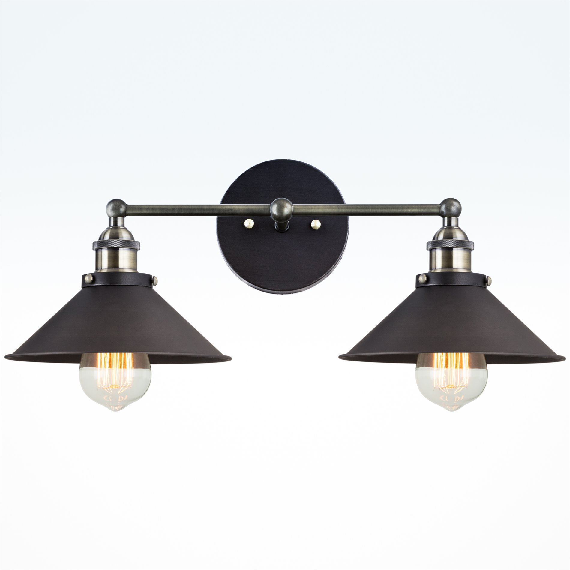 Kira Home Indie 19'' Mid-Century Industrial 2-Light Black Wall Sconce, Brushed Black Finish by Kira Home (Image #2)