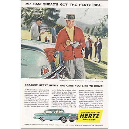 1958 Hertz Rent-a-Car: Sam Snead, Hertz Print Ad